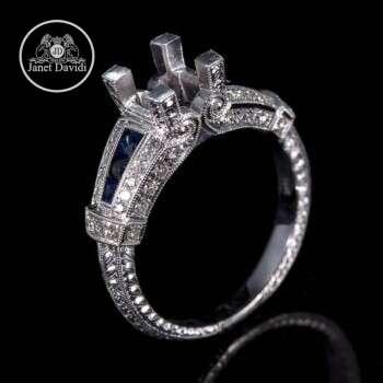18K Blue Sapphire and Diamond Milgrain