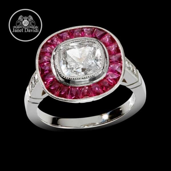 Platinum or 14 KWG Genuine Ruby Halo