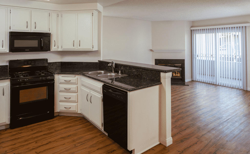 View of Empty Kitchen and Living Room