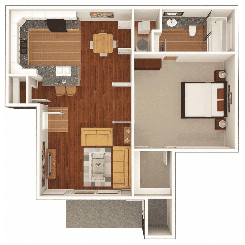 1 BED 1 BATH 586 Sq. Ft. floor plan