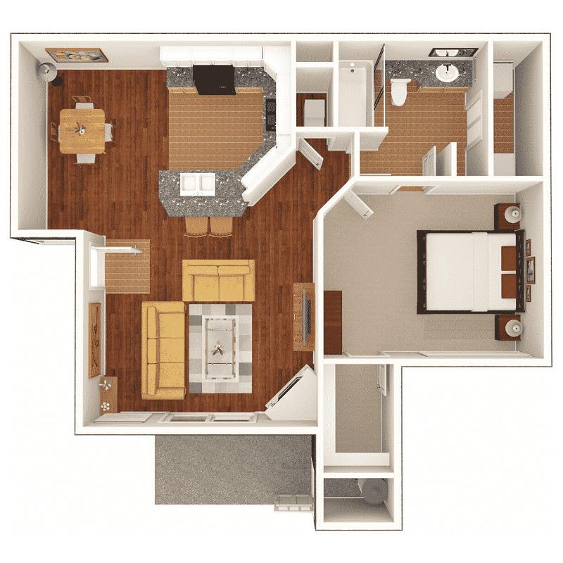 1 BED 1 BATH 694 Sq. Ft. floor plan