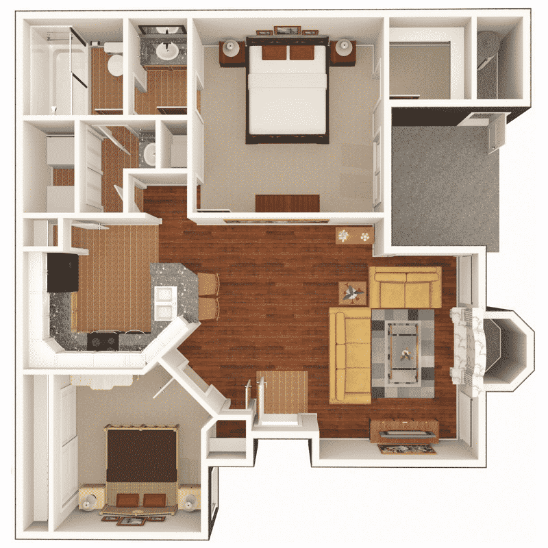 2 BED 1 BATH  803 Sq. Ft. floor plan