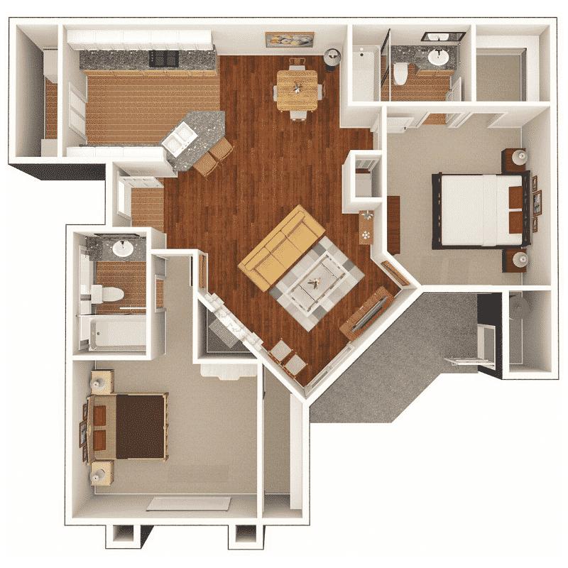2 BED 2 BATH 967 Sq. Ft. floor plan