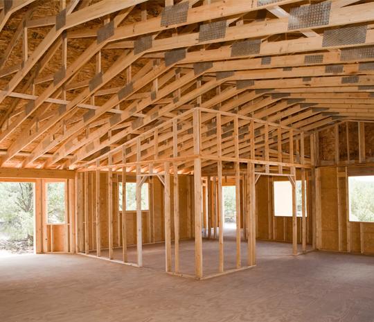 Inside of wood framed building