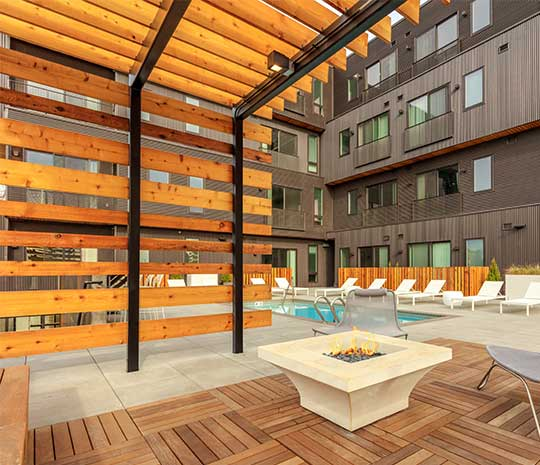Pool area with wood pagota