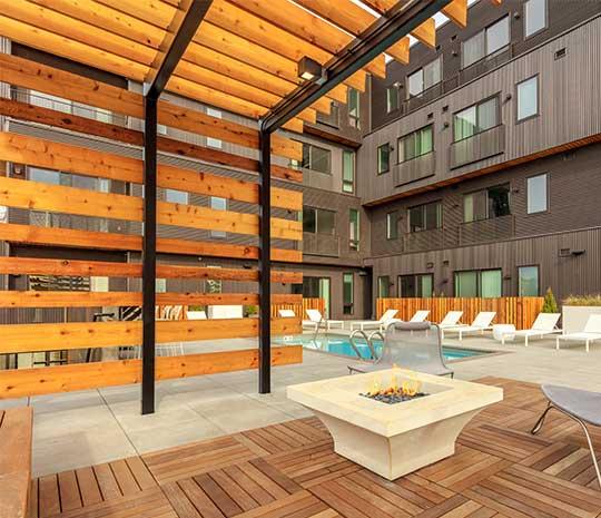 Pool area with wood pagota