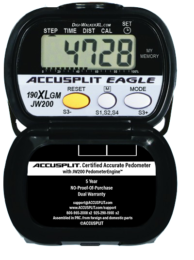 ACCUSPLIT AE190XLGM Certified Accurate Pedometer with memory