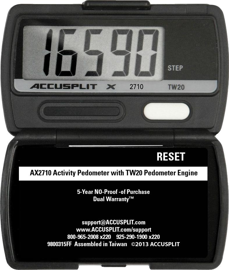 Pedometer.com AX2710 Accelerometer Pedometer measures STEPS