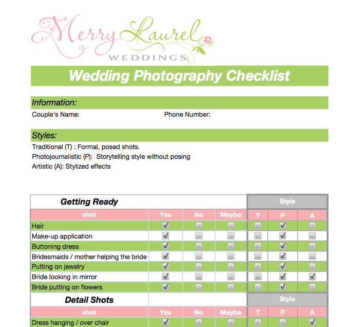 Photography Planning Checklist Example