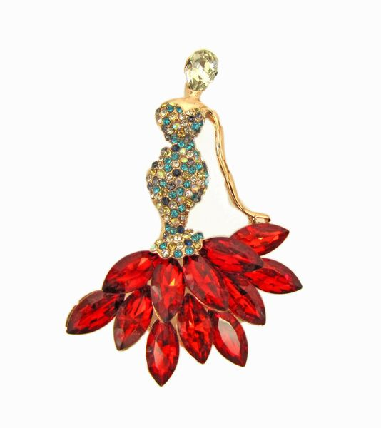 brooch shaped like a woman with scarlet gemstones