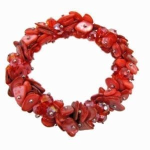 bracelet with bunch of flat red beads