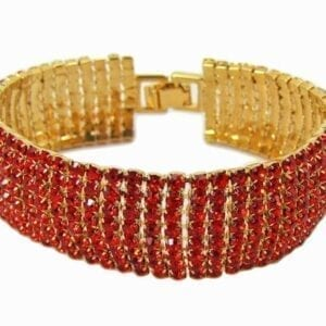 golden bangle with rows of red gemstones