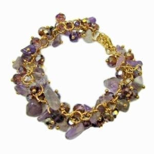 golden bracelet with clusters of amethyst