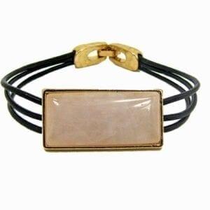 bracelet with pink rectangular pendant