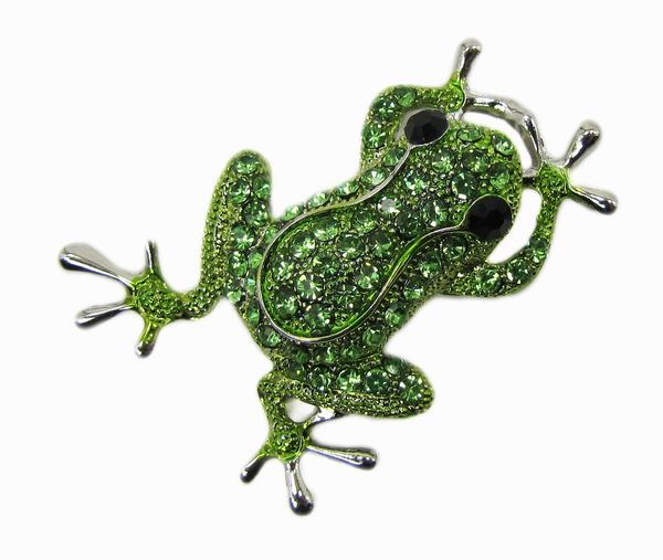frog brooch with green gems