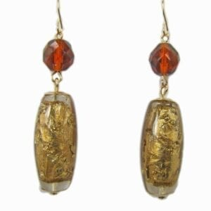 earrings with gold barrel gems and red beads