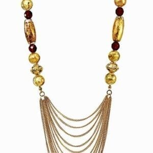 necklace with large golden beads and gold chains