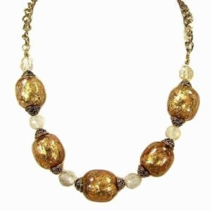 necklace with large golden beads