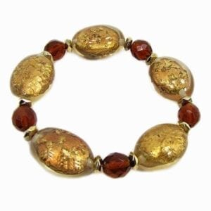 bracelet with large golden beads and red gems