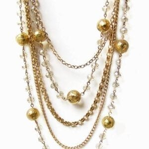 layered chain necklace with golden pearls