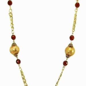 Necklace with amber-colored crystals and golden chains