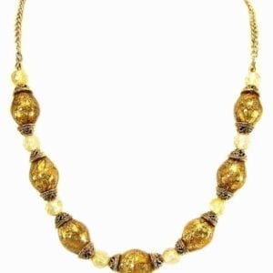 necklace with amber-colored crystals