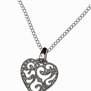 necklace with hear-shaped pendant with swirling designs