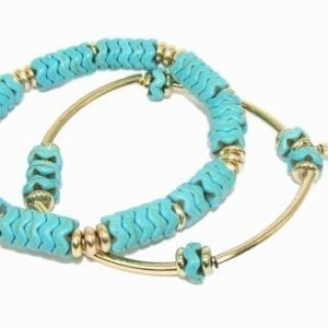 two bracelets with light blue beads