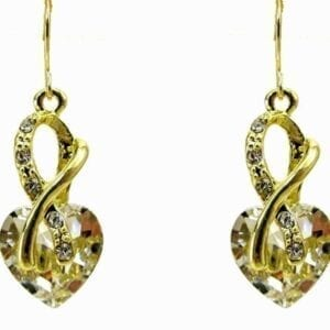 amber earrings with hexagonal crystals
