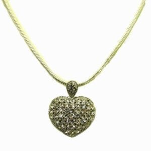 necklace with metal heart-shaped pendant