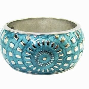 silver bangle with blue radial design