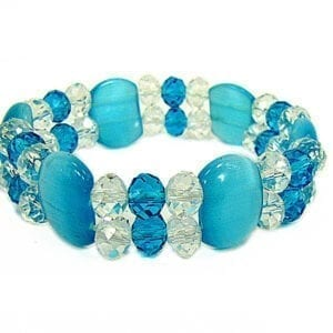 bracelet with large turquoise beads and crystals