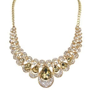 necklace with rows of teardrop gems with light brown crystal inlay
