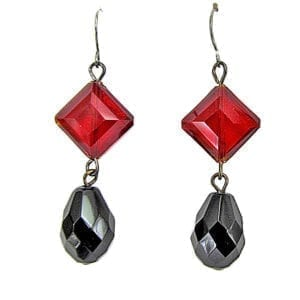 earrings with black and red gemstones