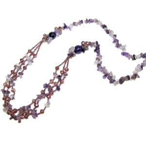 necklace with assorted violet and pink beads