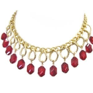 necklace with rows of hexagonal ruby gems