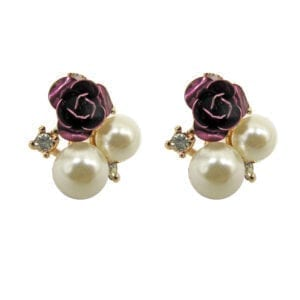 earrings with two pearls and a violet rose