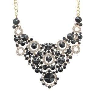 necklace with elaborate design of black circular crystals