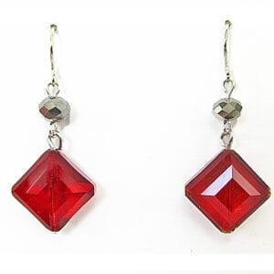 earrings with square cut red crystals
