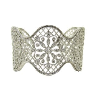 silver bangle with intricate design