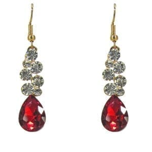 earrings with red teardrop crystal and some diamonds