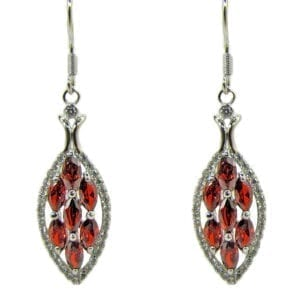 earrings with leaf pendant and ruby insets