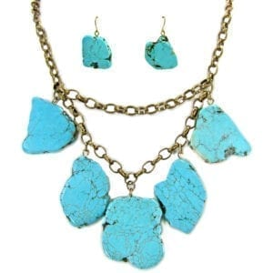 necklace with large, flat turquoise stones