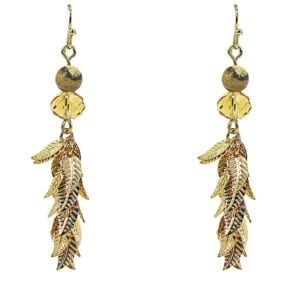 golden earrings with bunch of gold leaves