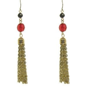 earrings with red gem and tassel