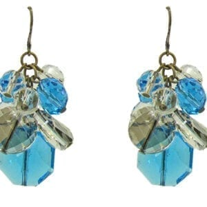 earrings with clusters of blue and white crystals