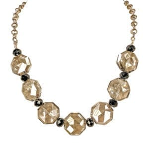 necklace with light brown octagonal crystals