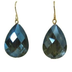 earrings with dark blue teardrop gem