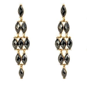 earrings with black crystals arranged in a diamond shape