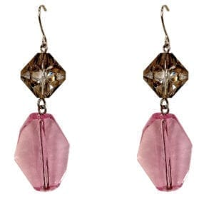 earrings with brown and magenta gems